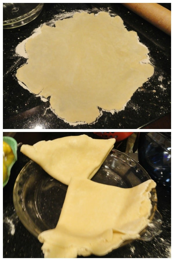 Collage with rolled crust dough at top and folded pie crust in pie dish at bottom