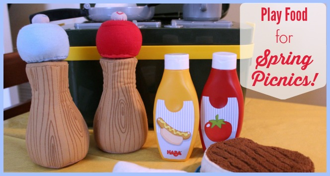 Play salt and pepper shakers, mustard, and ketchup dispensers on table