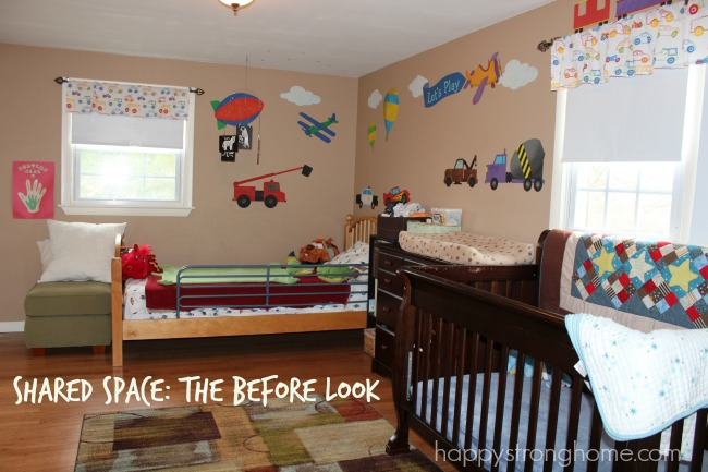 shared space kids bedroom redo before