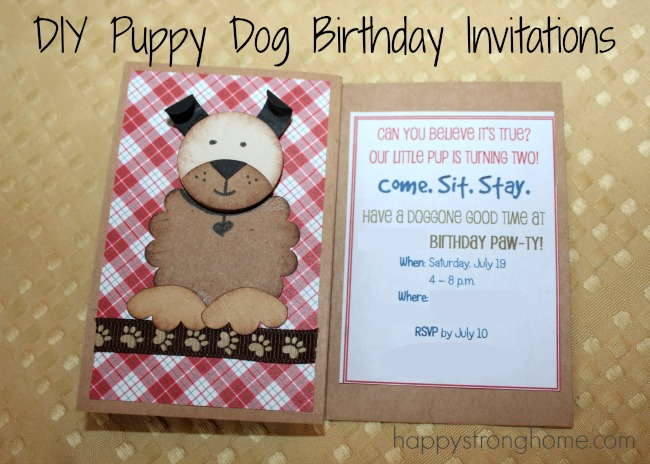 Diy puppy dog birthday invitation tutorial happy strong home diy puppy dog birthday invitation tutorial stopboris Image collections