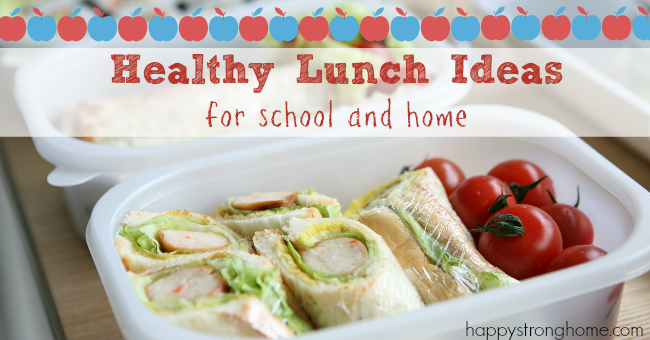 healthy lunch ideas pritnable banner across photo of wraps in plastic container