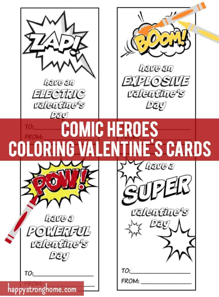 picture about Valentines Day Cards Printable named Totally free Comedian Heroes Coloring Valentines Working day Playing cards Printable
