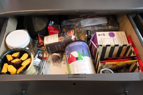 Drawer with many food cartons